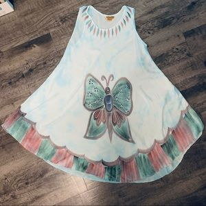 Sakkas Butterfly Cotton Dress Free Size Boho Gypsy